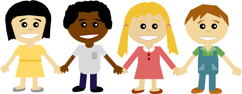 Cartoon drawing of children holding hands