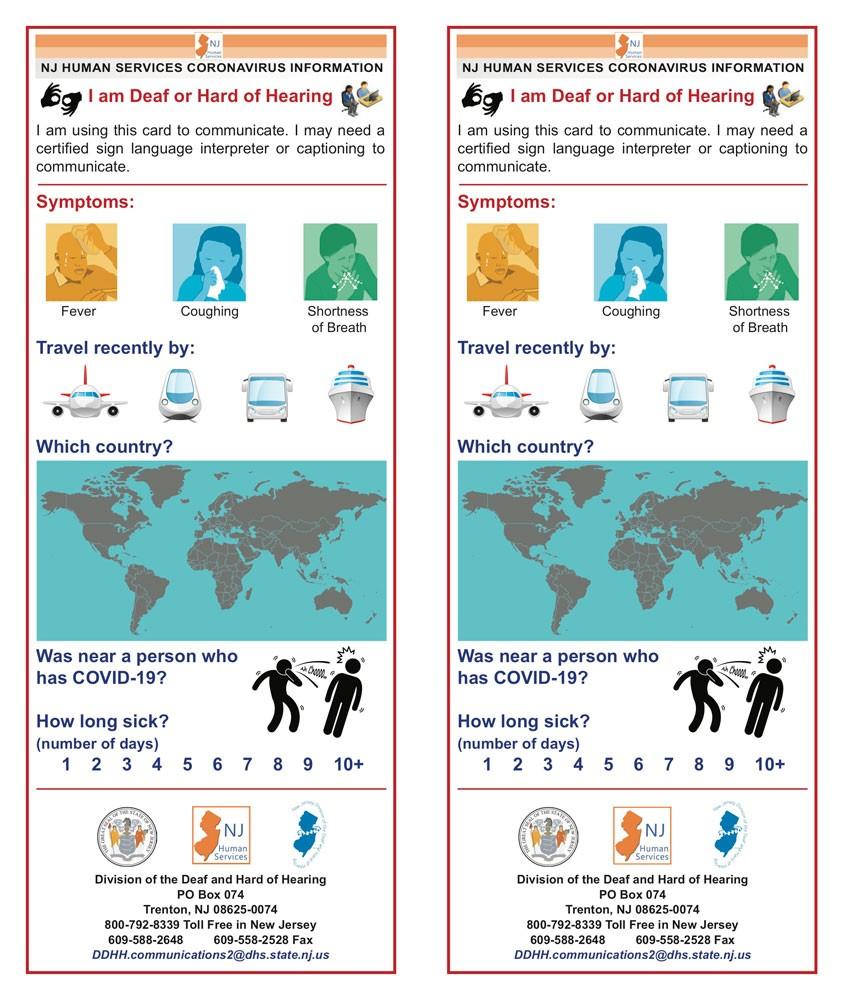 COVID 19 deaf and hard of hearing card - Coronavirus Disease 2019 (COVID-19)