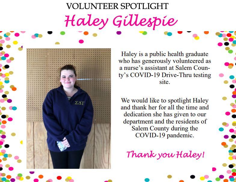 Volunteer Haley Gillespie